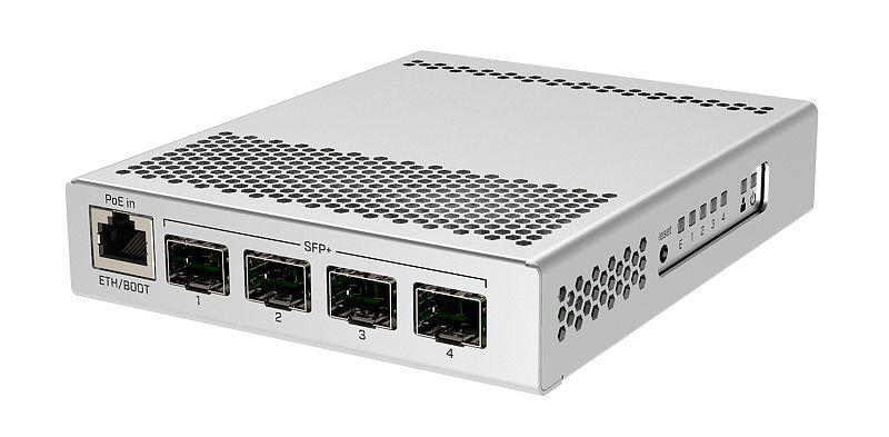MikroTik CRS305-1G-4S+IN, 800MHz, 512MB, 4xSFP+, 1xGigabit, PoE in, 2x DC  jack for redundancy, L5