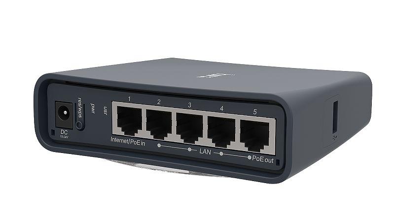 MikroTik Routerboard RB952Ui-5ac2nD-TC, hAP ac lite tower, 1 5dBi, 22dBm @  2 4GHz, 2dBi, 23dBm @ 5GHz, 650MHz, 64MB, 5xEthernet, PoE out, USB, L4