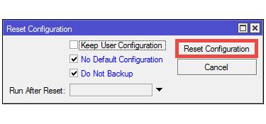 Πως αφαιρούμε το default configuration στο RouterOS
